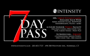 7 day trial pass Intensity fitness tennis gym squash westport norwalk ct